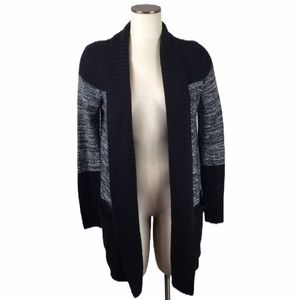 New Directions Open Front Gray and Black Cardigan